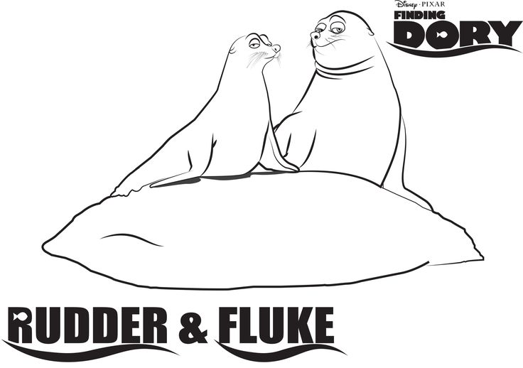 Disney 39 s Finding Dory Rudder and Fluke Coloring Page