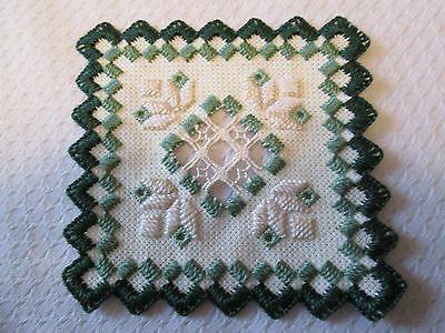 Hardanger Norwegian Embroidery SmallDoily White with Greens on eBay!
