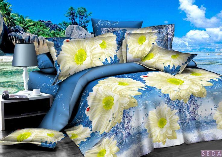 Постельное белье, поплин 3d, голубое, арт. pl-02 Комплект голубое - белое - желтое постельное белье из поплина. Эффект 3d. Рисунок: цветы, ромашки, природа. 4 размера - комплектации. Выберите нужный Вам размер и положите его в Вашу корзину!