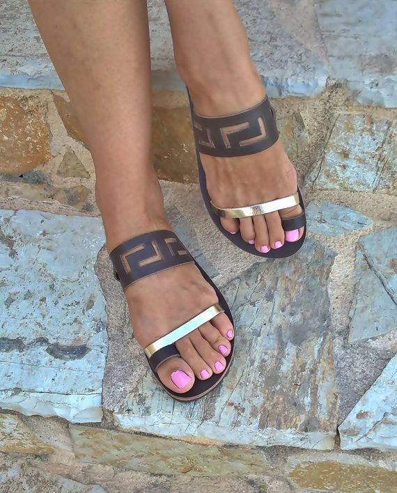 meander sandalsancient greek sandalsleather by FEDRAinspirations