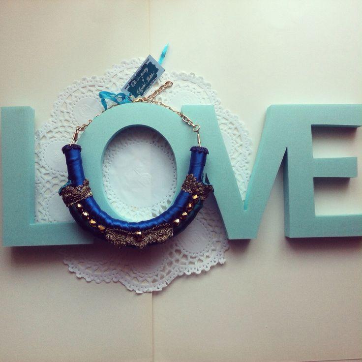 Handmade tribal inspired blue satin necklace
