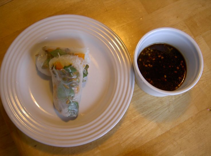 Roasted butternut squash, roasted pumpkin seed and Thai basil spring rolls with chili dipping sauce