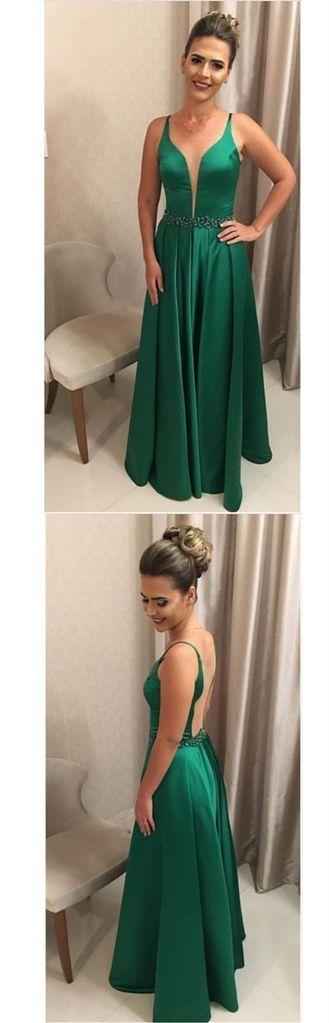 Green Prom Dress Deep V Neckline, Back To School Dresses, Prom Dresses For Teens, Pageant Dress,Graduation Party Dresses BPD0574