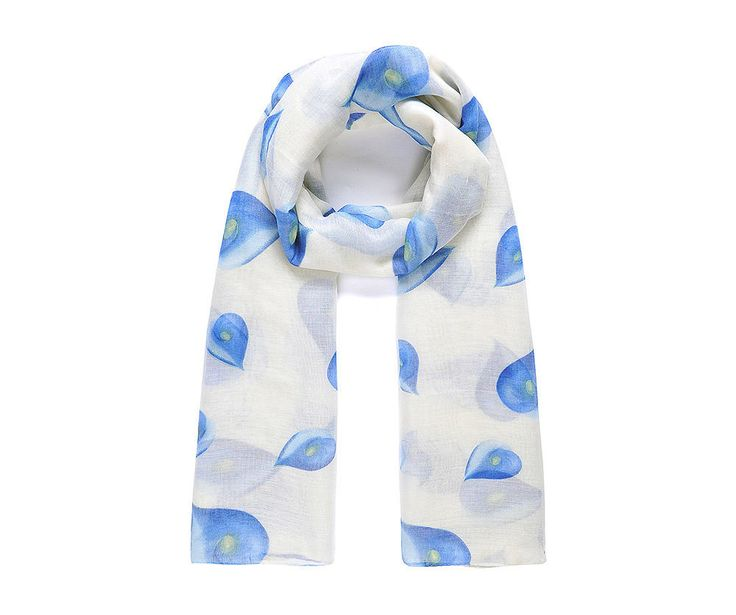 Vanilla/blue flamingo lilly print scarf