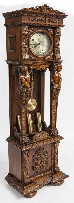 Ornate Carved Tall Case Clock With Carved Figures Zegary