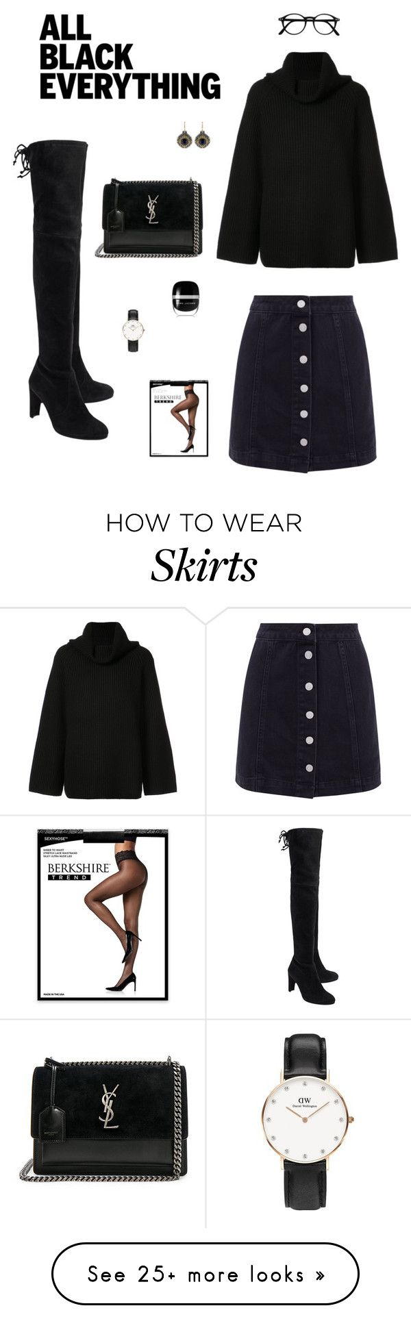 """""""Jeans skirt, cozy knit & overknee boots : all black everything"""" by sept8th on Polyvore featuring Stuart Weitzman, Chloé, Konstantino, Daniel Wellington, Yves Saint Laurent, Berkshire, Marc Jacobs and allblackoutfit"""