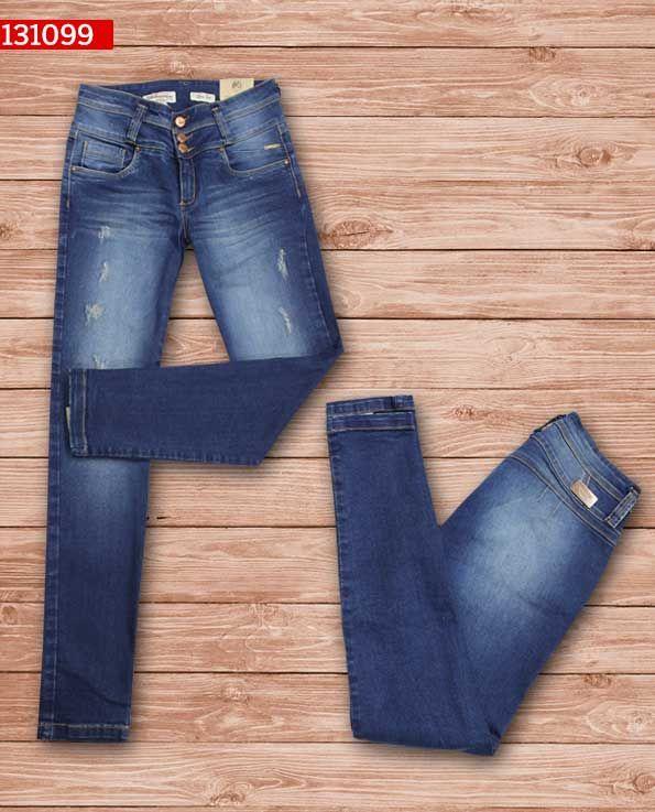 jeans-dama-color-azul -bota-recta-ref-131099- #fashion #women #ropademoda