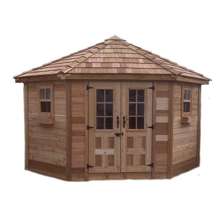 outdoor living today 9 x 9 penthouse garden shed with french doors - Garden Sheds 3m X 4m