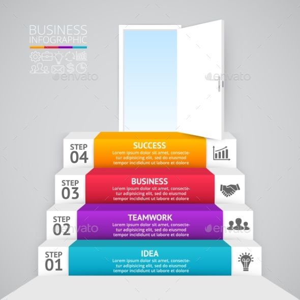 Stairs And Open Door. Business Startup Infographic Template. Download here: http://graphicriver.net/item/stairs-and-open-door-business-startup-infographic/15888086?ref=ksioks