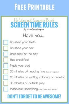 Holiday and Summer Rules for Screen Time, Free Printable, Manage screen time for kids, Setting Screen Time Limits, Get Kids interested in fun activities.
