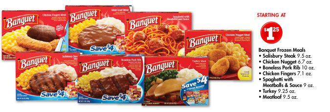Banquet Frozen Meals Salisbury Steak Chicken Nugget Boneless Pork