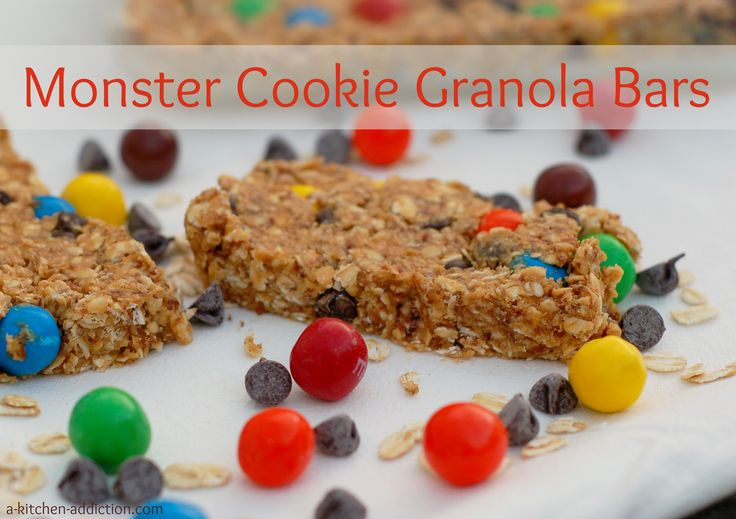Kitchen Addiction} Monster Cookie Granola Bars - No Bake