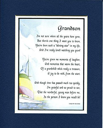 A Gift For A Grandson, #44, 8x10 Poem, Double-matted in Navy/White And Enhanced With Watercolor Graphics.