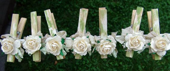 French Shabby Chic Cottage decorated Clothes Pins por ilovethis