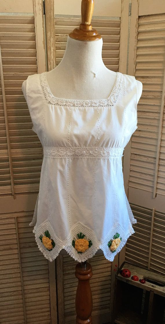 upcycled crochet granny flower top