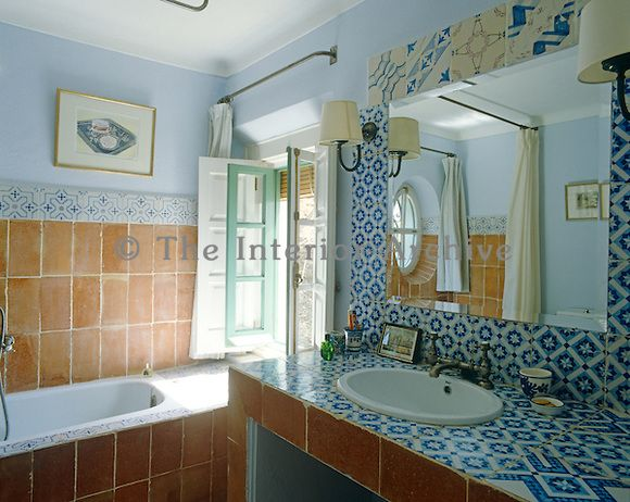 Patterned Blue And White Glazed Tiles Line The Walls And Washstand In This  Mediterranean Style Part 67