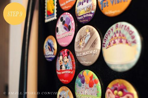 Convert Disney park buttons to refrigerator magnets...uh defintely doing this!!!! disney crafts for adults #disney