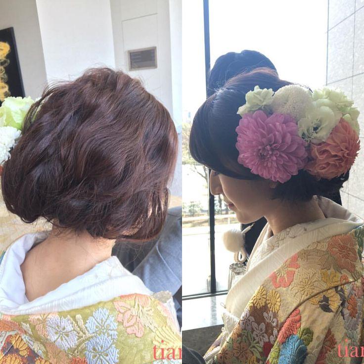 ヘアメイクは持ち込みで@tiamo にお願いしました。 ヘアメイクリハのときからとても親身になって考えてくださり、常に気にかけてお直しもしていただきました。結婚式の1日、とても心強かったです。 b-tiamo.jp/sp/ #和装ヘア #ボブ風 #出張ヘアメイク #ティアモ #ヘッドパーツ #ダリア #色打掛 #トリートドレッシング #thetreatdressing