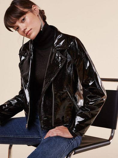 This is part of the Ref x Haim collection. Slick. This is a patent leather jacket with pockets and a notched lapel. https://www.thereformation.com/products/soto-jacket-black?utm_source=pinterest&utm_medium=organic&utm_campaign=PinterestOwnedPins