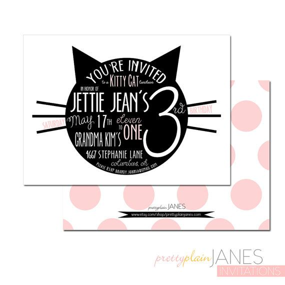110 best images about Kitty Cat Birthday Party – Cat Party Invitations