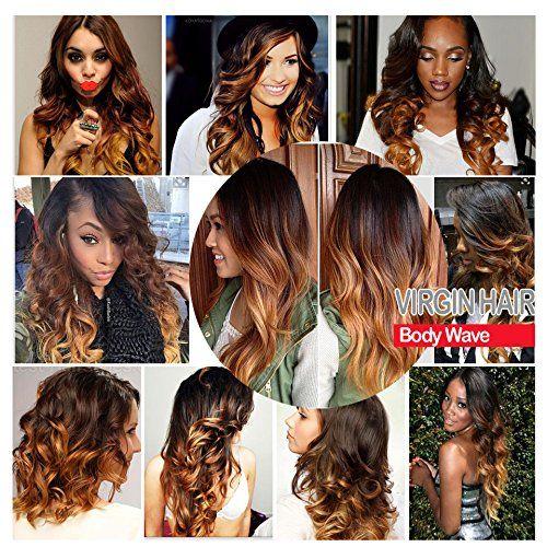 Amazon.com : Allove Hair 8A Ombre Brazilian Virgin Hair Body Wave Bundles with Closure (14 16 18 20+14) 1B-4-27 Ombre Body Wave Hair Weave with 4X4 Free Part Body Wave Lace Closure : Beauty Sale: $149.96