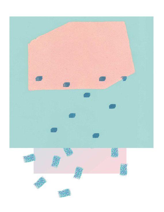 Abstract art print, 5 x 7 print, geometric pastel, digital print of painting