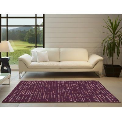Varick Gallery Hallinan Modern Leaf Purple Area Rug Rug Size: 4' x 6'