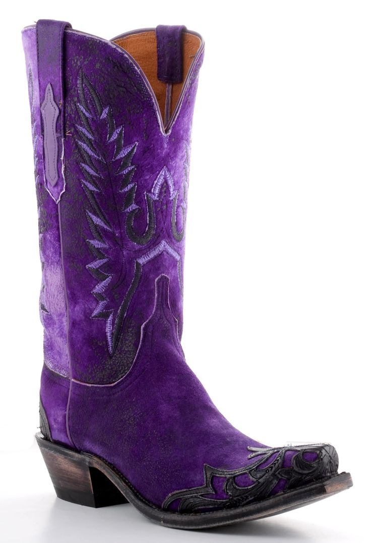 Womens Lucchese Goat Boots Purple