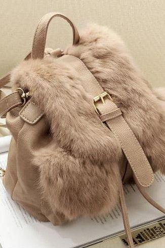 Drawstring Faux Fur Backpack Shoulderbag (Khaki Or Black)