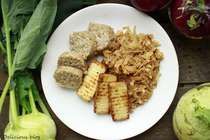 Delicious blog: Kedlubnové zelí s tofu a kroupovými knedlíky