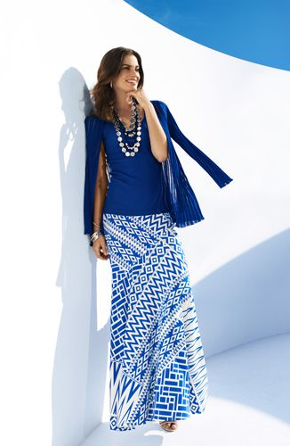 Style Cue: Fresh for Summer. The ladylike Maxi Skirt in a Signature Print and Drapey Jacket. #chicos