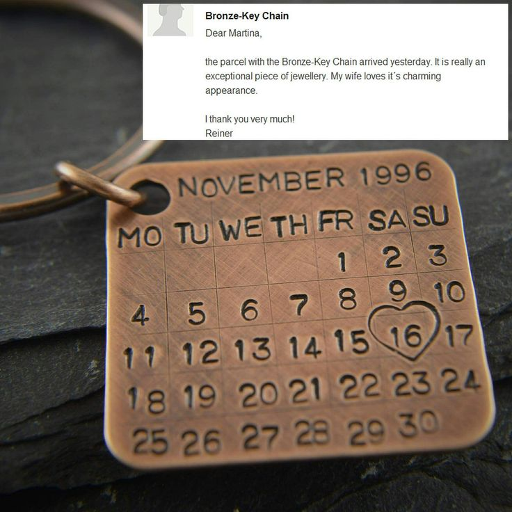 personalised key ring date tag calendar charm solid copper great for 7th wedding anniversary