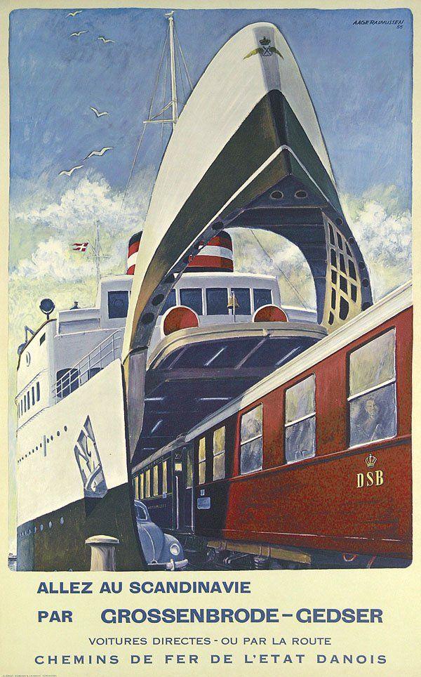 Allez en Scandinavie par Grossenbrode-Gedser - chemins de fer de l'état danois - 1956 - (Aage Rasmussen) -