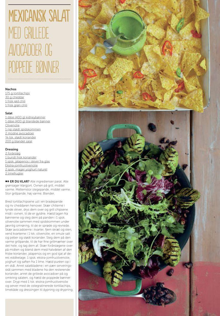 Mexicansk salat med grillede avocadoer og poppede bønner - opskrift af Jamie Oliver for Silvan