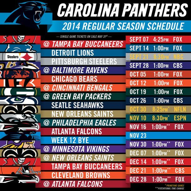 "Carolina Panthers ""Pre-Season"" & ""Regular Season"" Schedule"