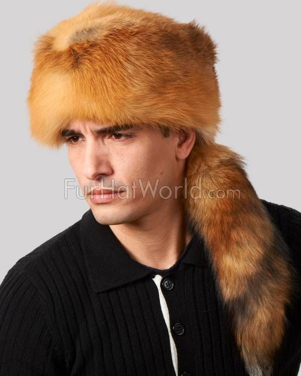 Red Fox Fur Davy Crockett Hat for Men in 2019  b2b4d96ad81f