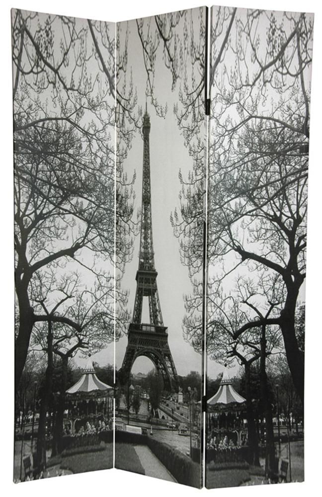 6 ft. Tall Double Sided Paris Room Divider or my closet - Eiffel Tower/Arc de Triomphe