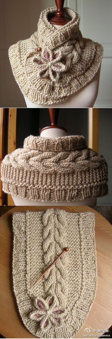 Pretty wrap to keep the neck warm...Love the back, wonder if a person could knit in the round and make a huggie?