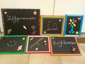 zelfgemaakte krijt en magneetborden :)