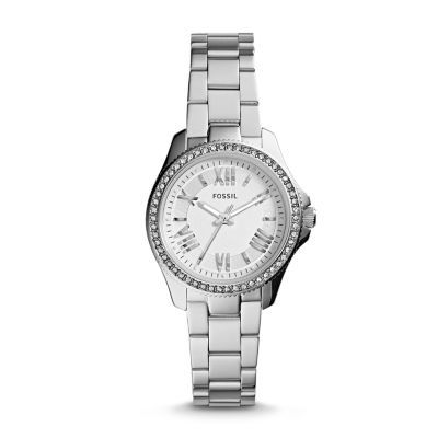 Cecile Mini Stainless Steel Watch Refined and reinvented for fall, the chic Cecile you know and love arrives in a new petite size. Fifty-four sparkling stones and classic Roman numerals modeled after vintage clocks prove it's timeless in more ways than one.*Modeled after vintage clocks, our Roman numerals are uniquely designed to provide artistic balance to the dial.