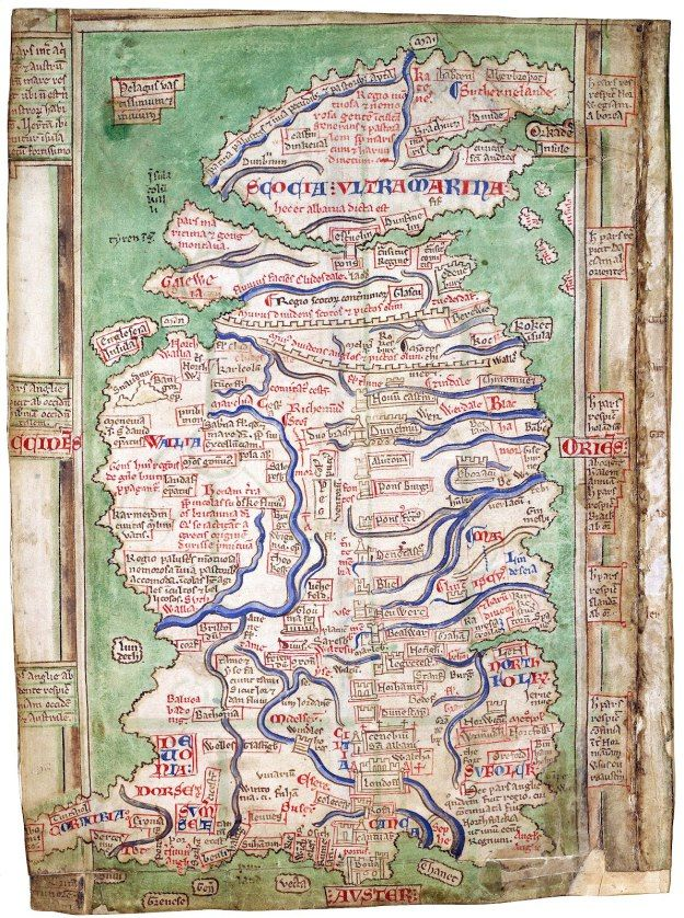 Matthew Paris's map of Britain.  The 13th-century historian, Matthew Paris, was a monk at St Alban's Abbey.  Many geographical features are recognisable. His are the earliest surviving maps with such a high level of detail. They stand out in the history of medieval mapmaking as the first attempts to portray the actual physical appearance of the country rather than represent the relationship between places in simple schematic diagrams.    British Library