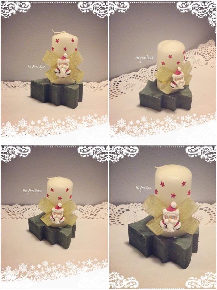 Candela bianca con Babbo Natale ❄️ realizzata interamente a mano con decorazione in fimo !!!