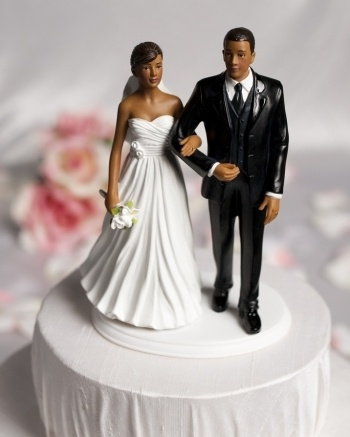 Chic African American Wedding Cake Topper