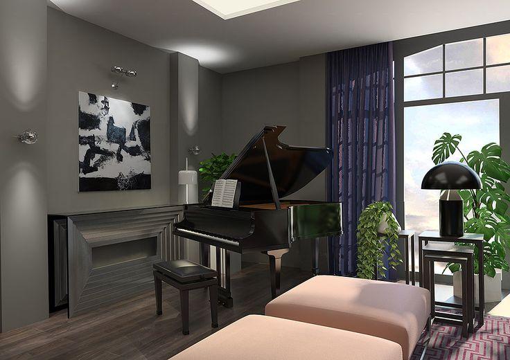 Салон-гостиная с роялем в современном стиле