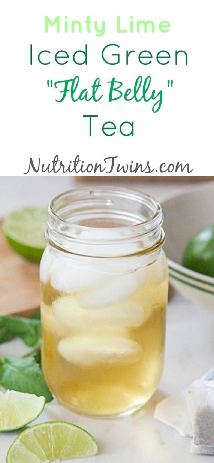 Minty Lime Iced Green Flat Belly Tea - 8 Essential Tips, Exercises and Recipes for Getting a Flat Belly