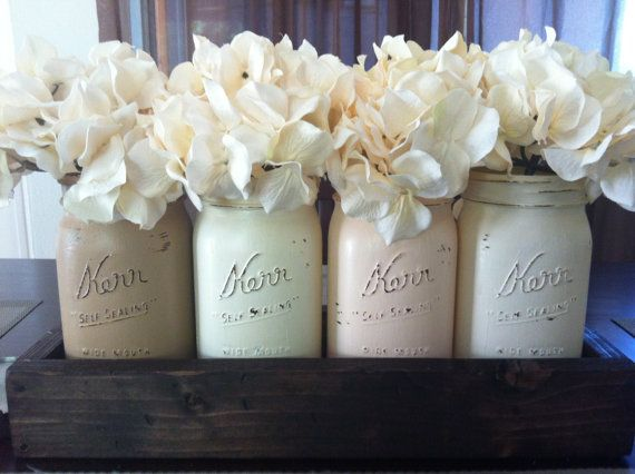 Rustic Mason Jar and wood box table Centerpiece wedding shabby chic distressed vase Peach/Brown on Etsy, $35.00