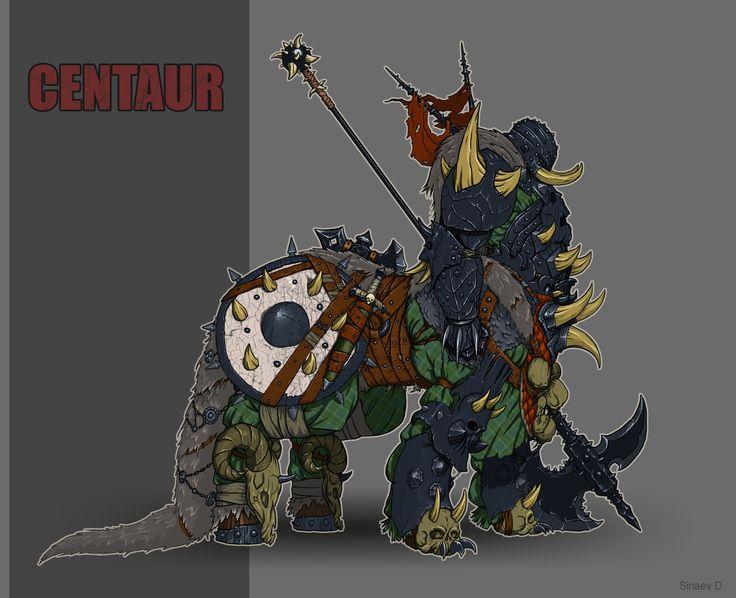Battle centaur, Dmitry Sinaev on ArtStation at https://www.artstation.com/artwork/5KZaW