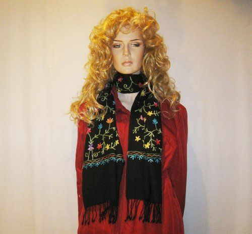 SCARF-PASHMINA SCARF WITH ALL OVER CREWEL EMBROIDERY Cashmere Pashmina Group. $59.00. Save 63% Off!