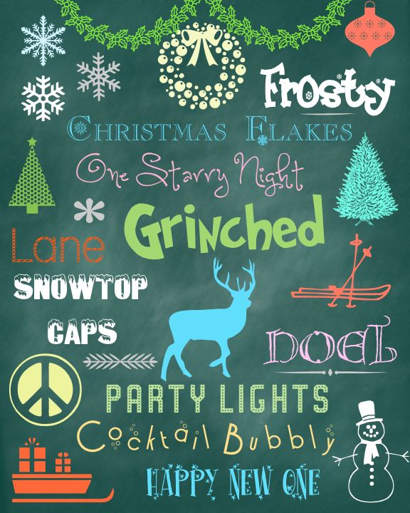 "Winter Holiday Fonts Dingbats  ~~ {21 Free fonts w/ links -- if you want ""Evergreen"" - do not follow the link provided - it's a bad site - get it from fontspace.com}"
