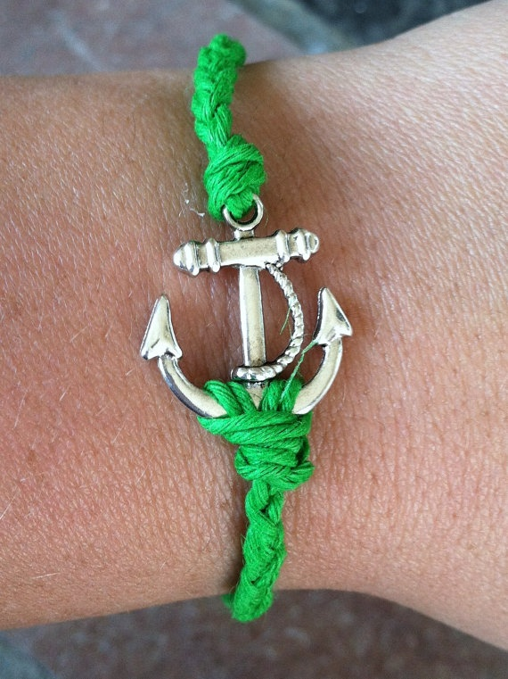 Grass GREEN Anchor Bracelet by krystleskrafts on Etsy, $4.50 NEW